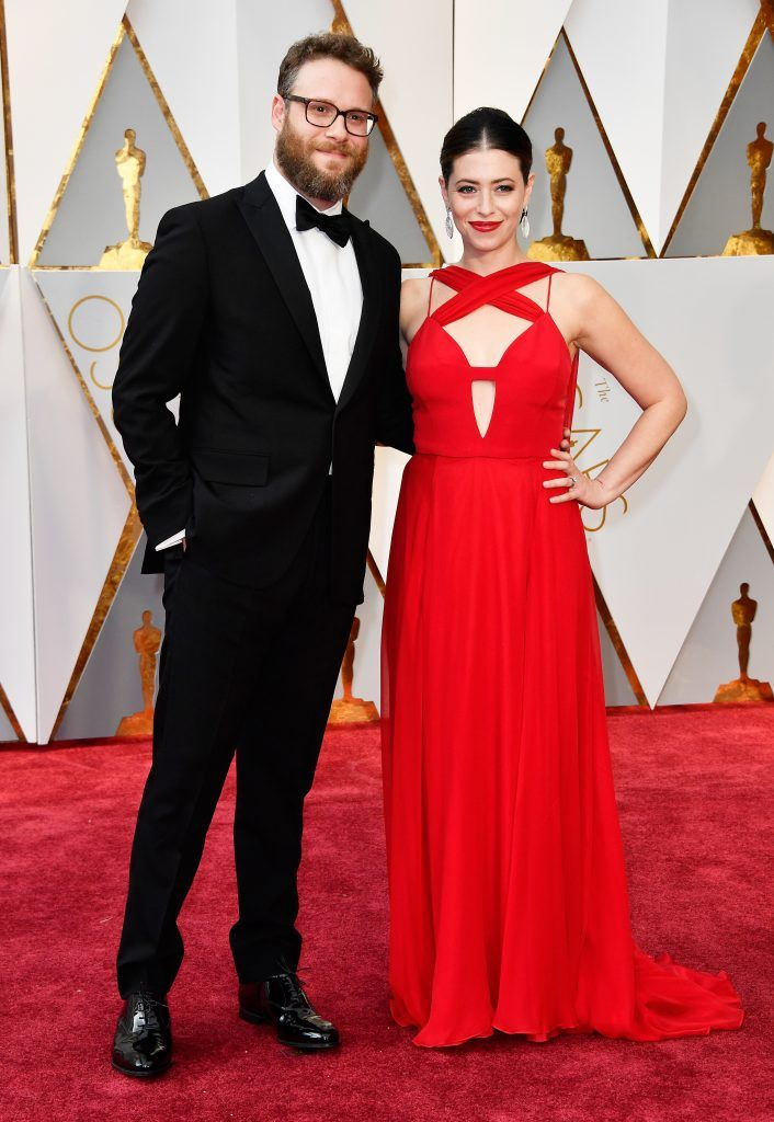 HOLLYWOOD, CA - FEBRUARY 26: Actors Seth Rogen (L) and Lauren Miller attend the 89th Annual Academy Awards at Hollywood & Highland Center on February 26, 2017 in Hollywood, California.  (Photo by Frazer Harrison/Getty Images)