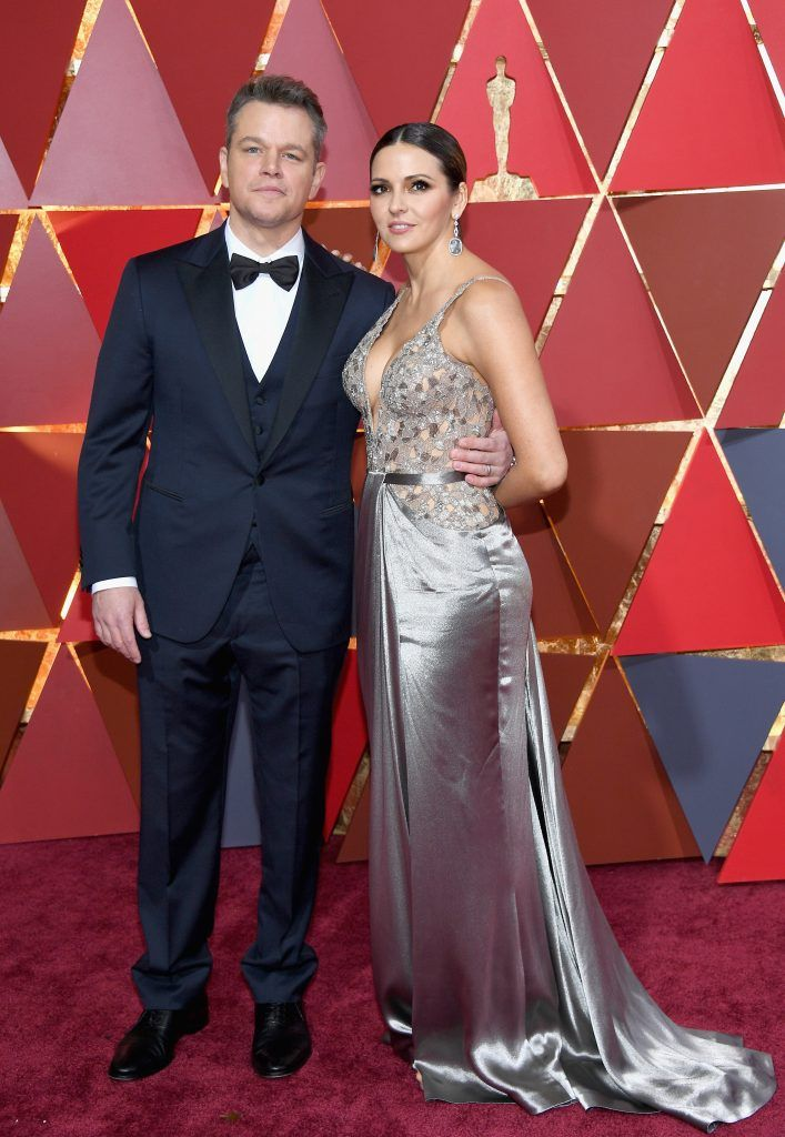 HOLLYWOOD, CA - FEBRUARY 26:  Actor/producer Matt Damon (L) and Luciana Barroso attend the 89th Annual Academy Awards at Hollywood & Highland Center on February 26, 2017 in Hollywood, California.  (Photo by Kevork Djansezian/Getty Images)
