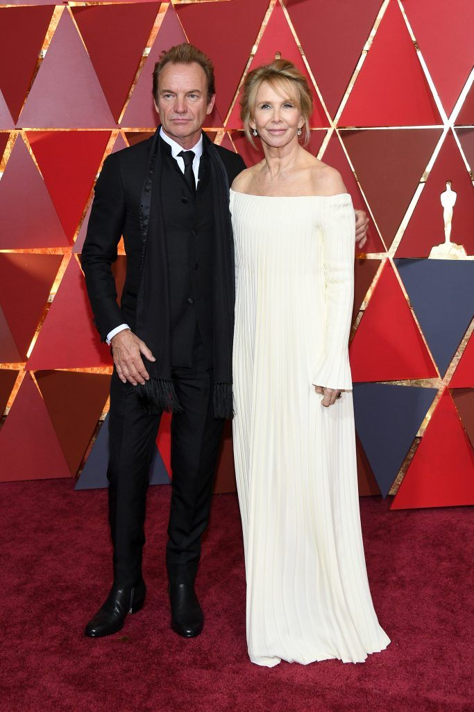 HOLLYWOOD, CA - FEBRUARY 26: Musician Sting and  Trudie Styler attend the 89th Annual Academy Awards at Hollywood & Highland Center on February 26, 2017 in Hollywood, California.  (Photo by Kevork Djansezian/Getty Images)