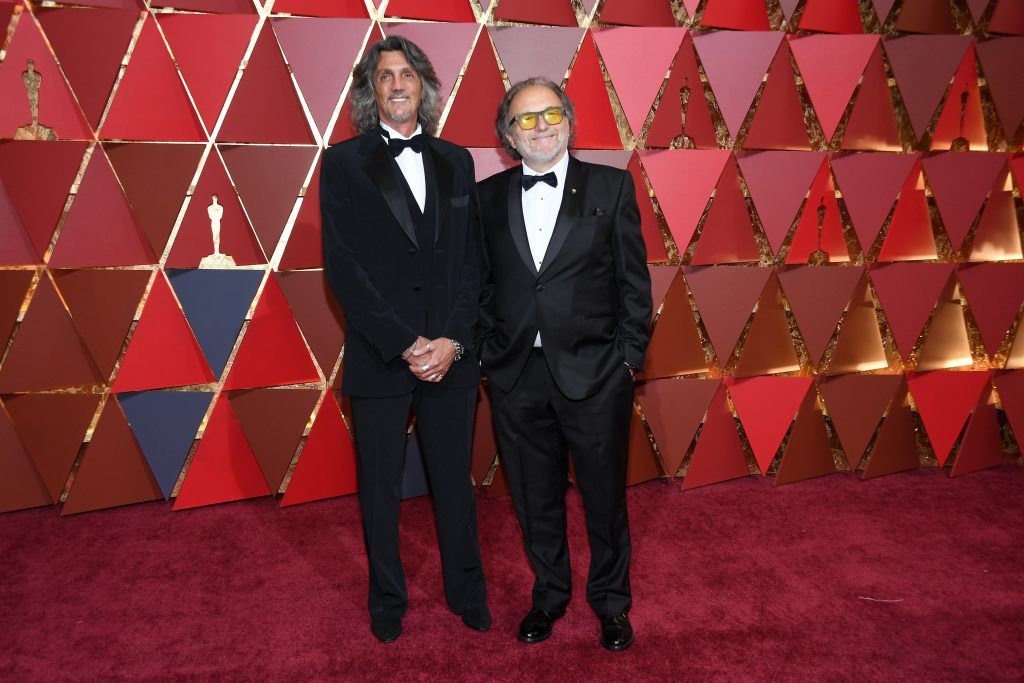 HOLLYWOOD, CA - FEBRUARY 26:  Make Up Artists Giorgio Gregorini and Alessandro Bertolazzi attend the 89th Annual Academy Awards at Hollywood & Highland Center on February 26, 2017 in Hollywood, California.  (Photo by Kevork Djansezian/Getty Images)