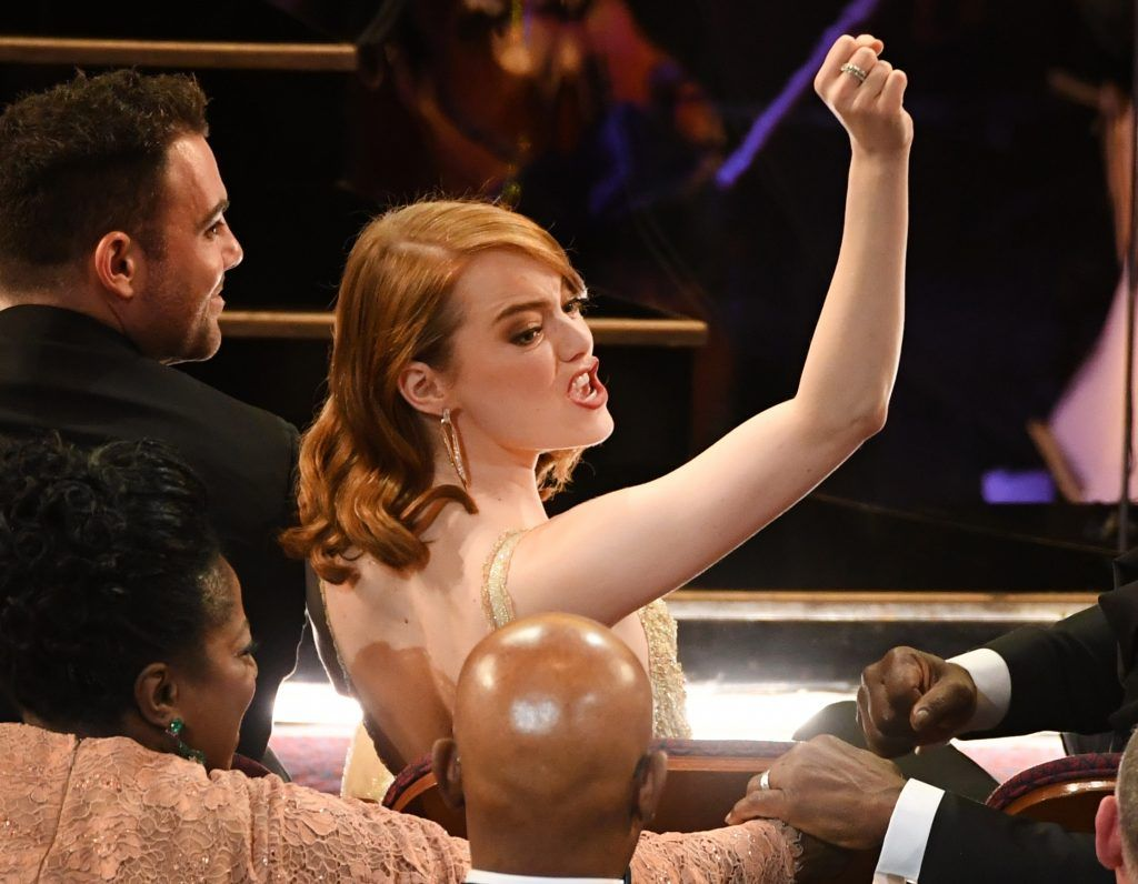 HOLLYWOOD, CA - FEBRUARY 26:  Actor Emma Stone in the audience during the 89th Annual Academy Awards at Hollywood & Highland Center on February 26, 2017 in Hollywood, California.  (Photo by Kevin Winter/Getty Images)