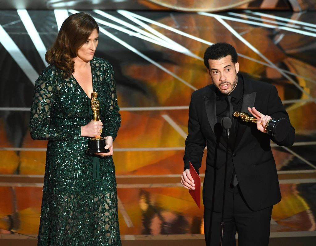 HOLLYWOOD, CA - FEBRUARY 26:  Producer Caroline Waterlow (L) and director Ezra Edelman accept Best Documentary Feature for 'O.J.: Made in America' onstage during the 89th Annual Academy Awards at Hollywood & Highland Center on February 26, 2017 in Hollywood, California.  (Photo by Kevin Winter/Getty Images)