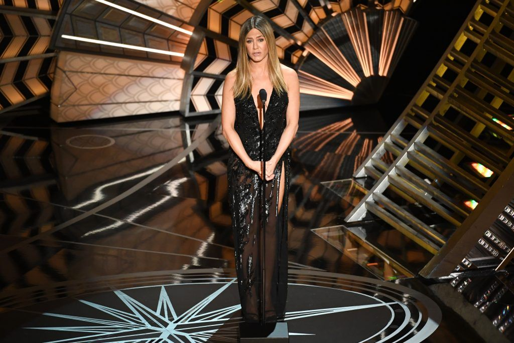 HOLLYWOOD, CA - FEBRUARY 26:  Actor Jennifer Aniston speaks onstage during the 89th Annual Academy Awards at Hollywood & Highland Center on February 26, 2017 in Hollywood, California.  (Photo by Kevin Winter/Getty Images)