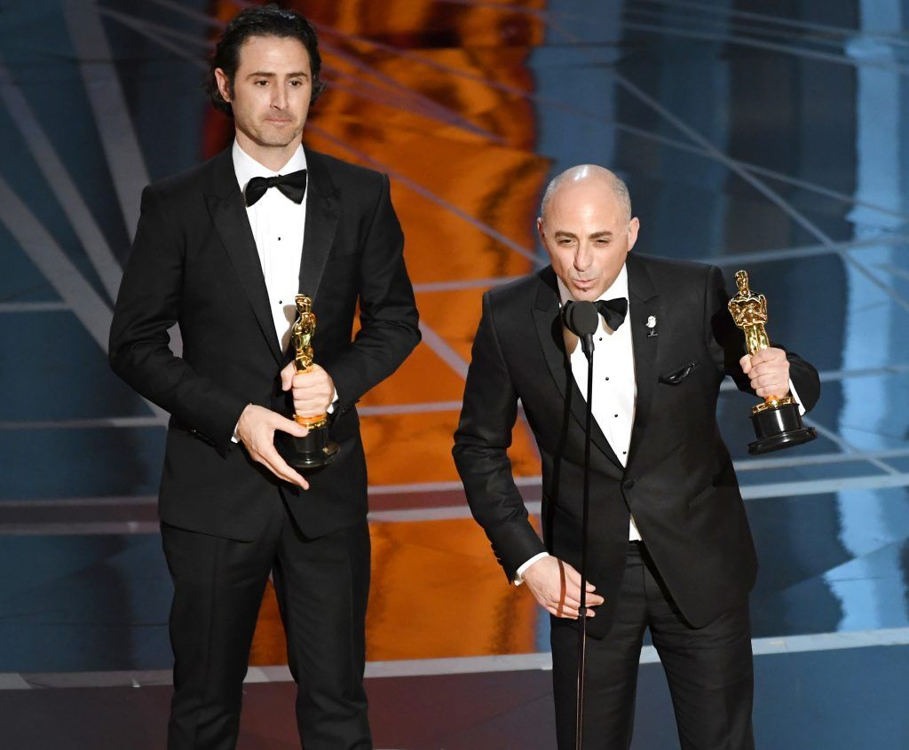 HOLLYWOOD, CA - FEBRUARY 26:  Director Alan Barillaro (L) and producer Marc Sondheimer accept Best Animated Short Film for 'Piper' onstage during the 89th Annual Academy Awards at Hollywood & Highland Center on February 26, 2017 in Hollywood, California.  (Photo by Kevin Winter/Getty Images)