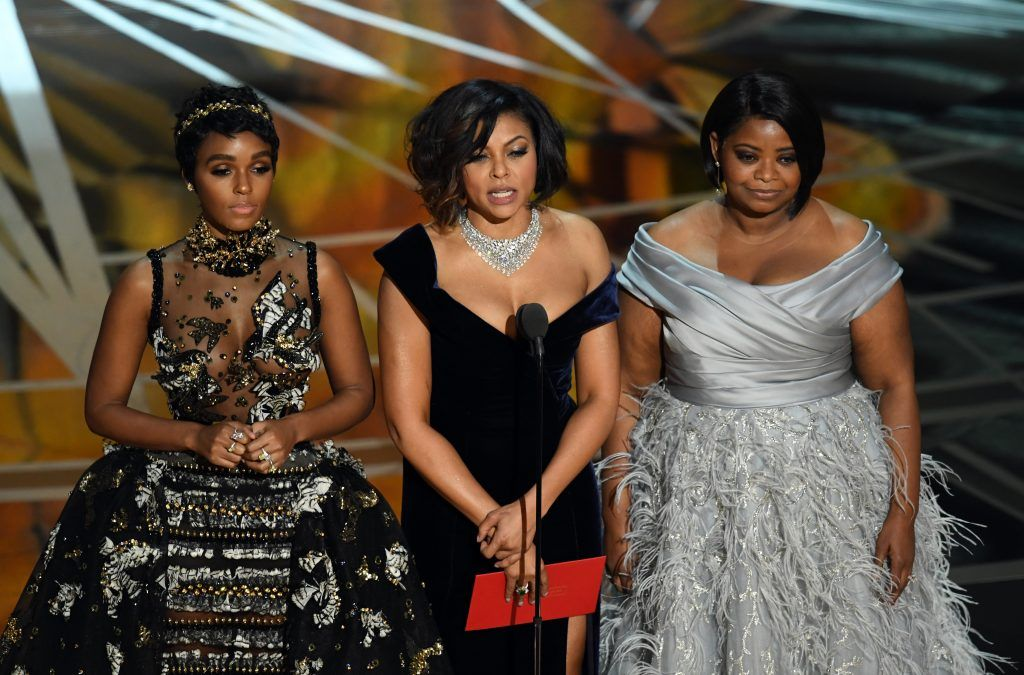 HOLLYWOOD, CA - FEBRUARY 26:  (L-R) Actors Janelle Monae, Taraji P. Henson and Octavia Spencer speak onstage during the 89th Annual Academy Awards at Hollywood & Highland Center on February 26, 2017 in Hollywood, California.  (Photo by Kevin Winter/Getty Images)