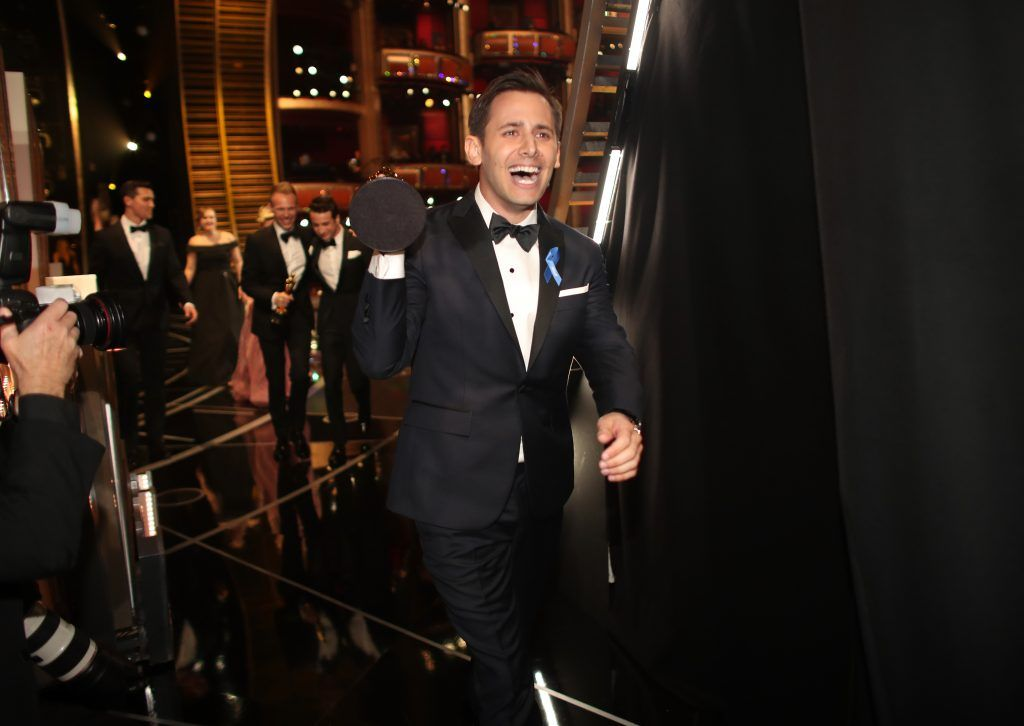 HOLLYWOOD, CA - FEBRUARY 26:  Songwriter Benj Pasek, winners of the Best Original Song award for 'City of Stars' backstage during the 89th Annual Academy Awards at Hollywood & Highland Center on February 26, 2017 in Hollywood, California.  (Photo by Christopher Polk/Getty Images)