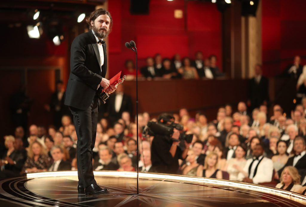 HOLLYWOOD, CA - FEBRUARY 26:  Actor Casey Affleck accepts the Best Actor award for 'Manchester by the Sea' onstage during the 89th Annual Academy Awards at Hollywood & Highland Center on February 26, 2017 in Hollywood, California.  (Photo by Christopher Polk/Getty Images)