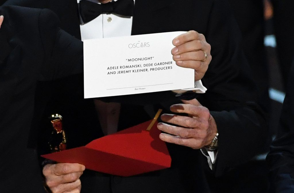 HOLLYWOOD, CA - FEBRUARY 26:  Detail shot as 'La La Land' producer Jordan Horowitz holds up the winner card reading actual Best Picture winner 'Moonlight' onstage during the 89th Annual Academy Awards at Hollywood & Highland Center on February 26, 2017 in Hollywood, California.  (Photo by Kevin Winter/Getty Images)
