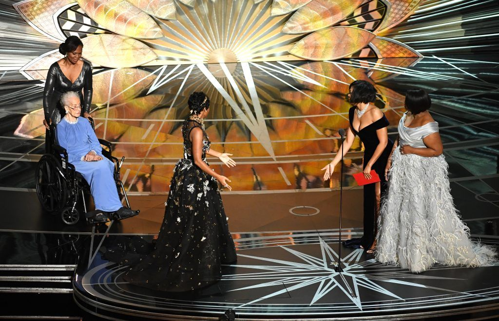 HOLLYWOOD, CA - FEBRUARY 26:  NASA mathematician Katherine Johnson (L) appears onstage with (L-R) actors Janelle Monae, Taraji P. Henson and Octavia Spencer during the 89th Annual Academy Awards at Hollywood & Highland Center on February 26, 2017 in Hollywood, California.  (Photo by Kevin Winter/Getty Images)