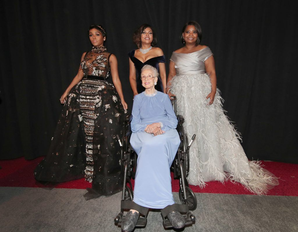 HOLLYWOOD, CA - FEBRUARY 26:  (L-R) Actor Janelle Monae, NASA mathematician Katherine Johnson and actors Taraji P. Henson and Octavia Spencer pose backstage during the 89th Annual Academy Awards at Hollywood & Highland Center on February 26, 2017 in Hollywood, California.  (Photo by Christopher Polk/Getty Images)