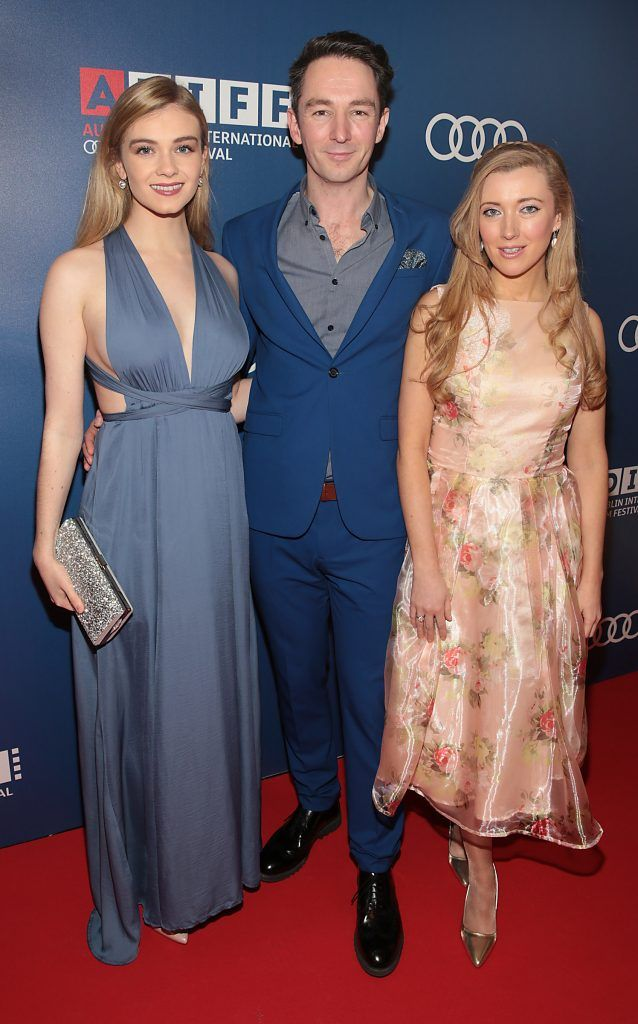 Leah McNamara, Graham Cantwell and Amy-Joyce Hastings at the Audi Dublin International Film Festival closing night gala screening of Handsome Devil at The Savoy Cinema in Dublin (Picture: Brian McEvoy).