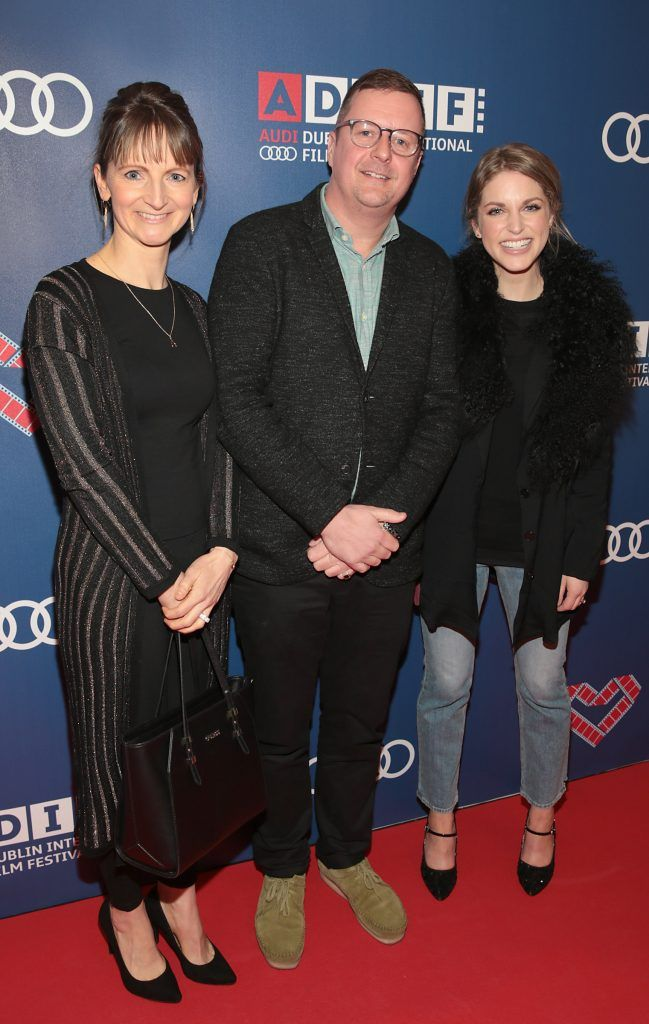 Director John Butler with Actors Norma Sheahan and Amy Huberman at the Audi Dublin International Film Festival closing night gala screening of Handsome Devil at The Savoy Cinema in Dublin (Picture: Brian McEvoy).