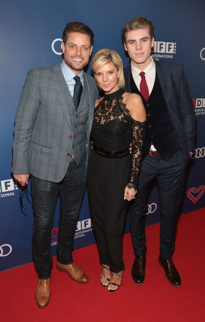 Keith Duffy, Lisa Duffy and Jay Duffy at the Audi Dublin International Film Festival closing night gala screening of Handsome Devil at The Savoy Cinema in Dublin (Picture: Brian McEvoy).