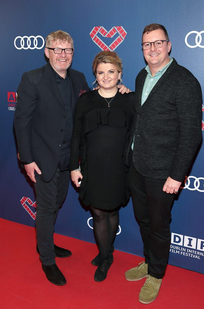 Producers Rob Walpole and Rebecca O Flanagan with Director John Butler  at the Audi Dublin International Film Festival closing night gala screening of Handsome Devil at The Savoy Cinema in Dublin (Picture: Brian McEvoy).