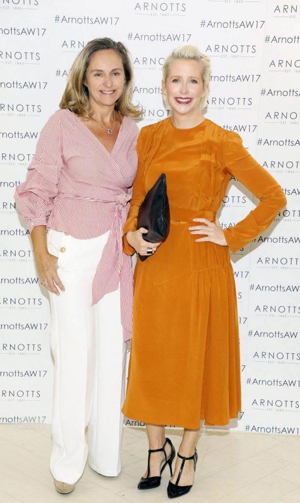Debbie O'Donnell and Aisling O'Loughlin at the Arnotts Autumn Winter 2017 Womenswear Collection Preview. Photo by Kieran Harnett