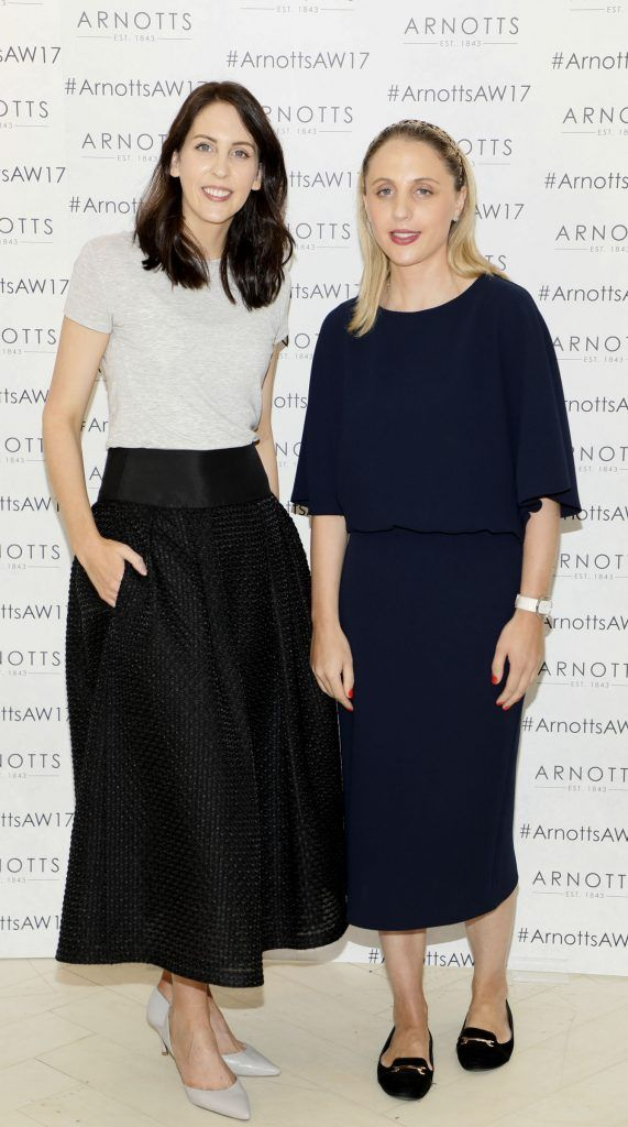 Niamh O'Neill and Katie Colgan at the Arnotts Autumn Winter 2017 Womenswear Collection Preview. Photo by Kieran Harnett