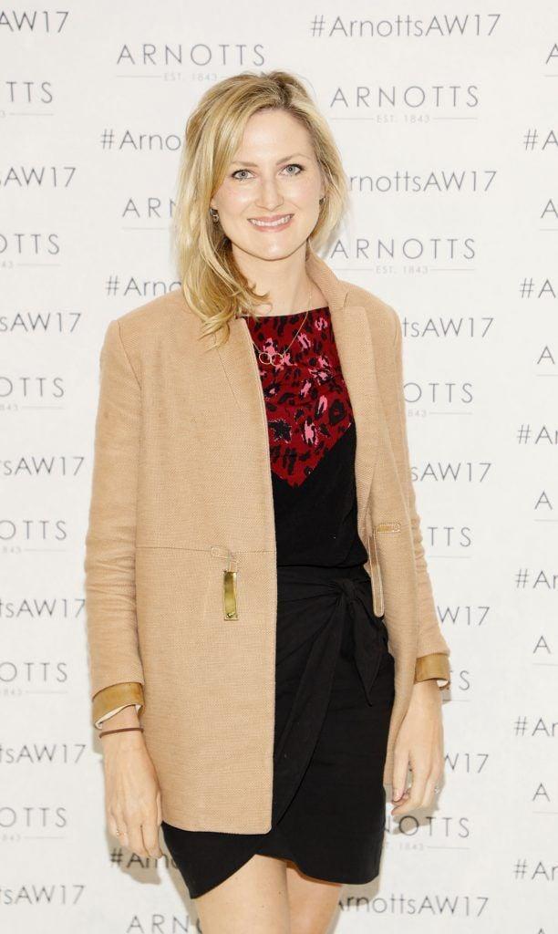 Sarah Rickard at the Arnotts Autumn Winter 2017 Womenswear Collection Preview. Photo by Kieran Harnett
