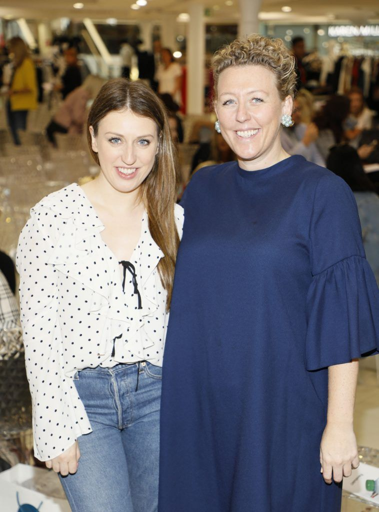 Faye McGillicuddy and Ailsing O'Toole at the Arnotts Autumn Winter 2017 Womenswear Collection Preview. Photo by Kieran Harnett