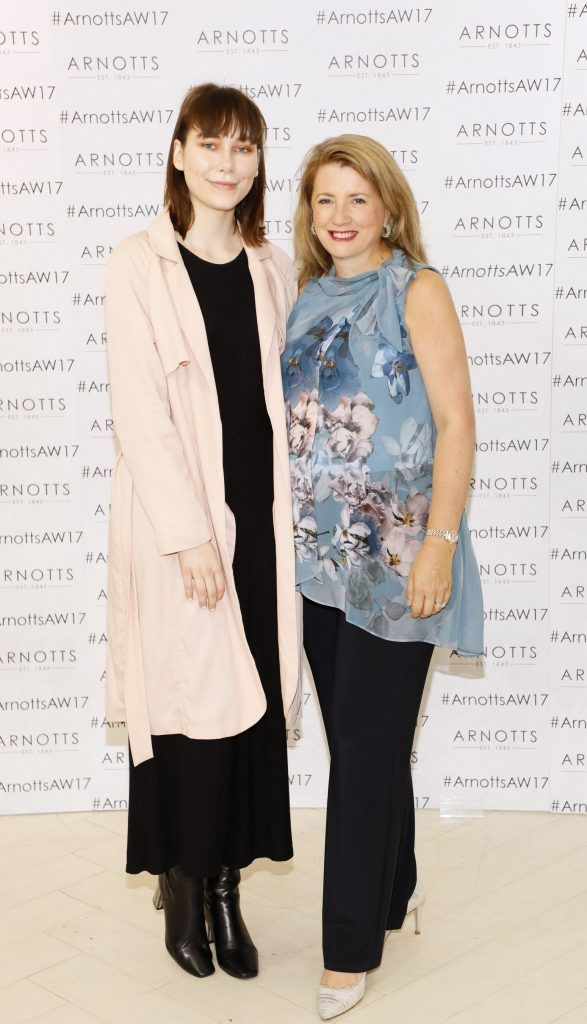 Katie Soanes and Clara Halpin at the Arnotts Autumn Winter 2017 Womenswear Collection Preview. Photo by Kieran Harnett