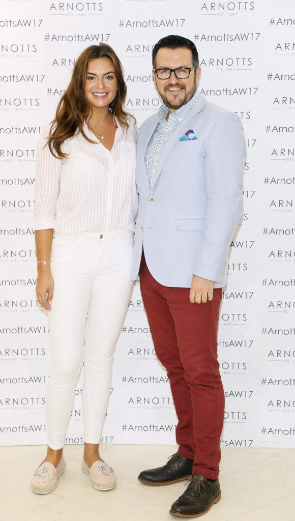 Lisa Nolan and Clyde Carroll at the Arnotts Autumn Winter 2017 Womenswear Collection Preview. Photo by Kieran Harnett
