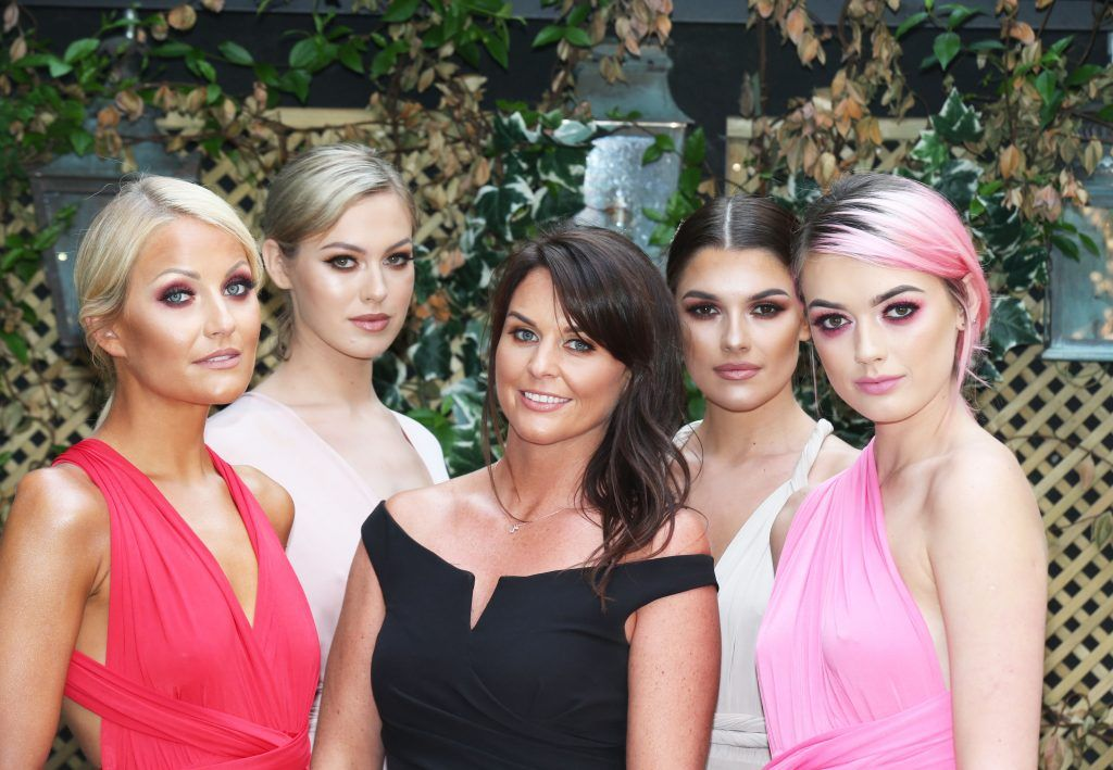 Jane Swarbrigg with Kelly Horrigan, Caoimhe, Jo Archbold and Kerri Nicole pictured at the launch of Inglot's new 'Signature Collection' of eyeshadow palettes in Nolita's garden terrace. Photograph: Leon Farrell / Photocall Ireland