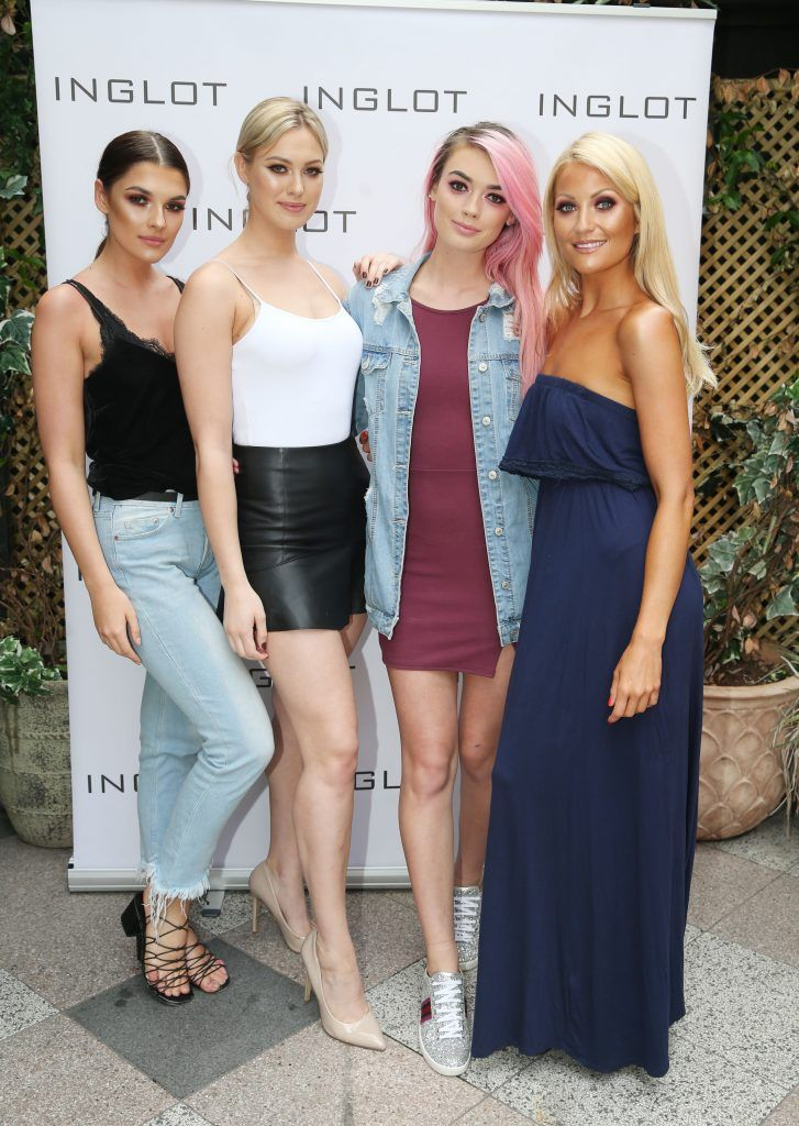 Kelly Horrigan, Caoimhe , Jo Archbold and Kerri Nicole pictured at the launch of Inglot's new 'Signature Collection' of eyeshadow palettes in Nolita's garden terrace. Photograph: Leon Farrell / Photocall Ireland