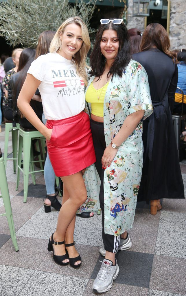Tara Stewart and Blathnaid Treacy pictured at the launch of Inglot's new 'Signature Collection' of eyeshadow palettes in Nolita's garden terrace. Photograph: Leon Farrell / Photocall Ireland