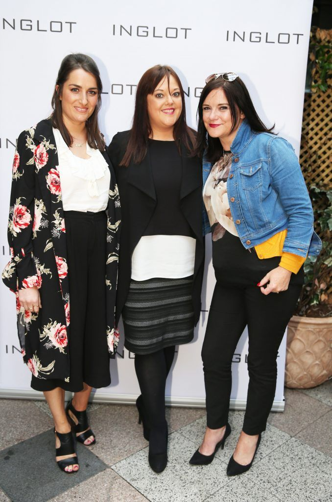 Jenny Finlay, Paula Kelly and Una Lambert  pictured at the launch of Inglot's new 'Signature Collection' of eyeshadow palettes in Nolita's garden terrace. Photograph: Leon Farrell / Photocall Ireland
