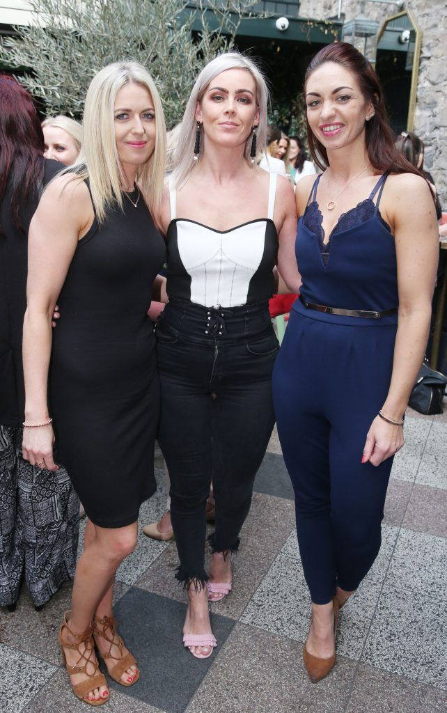 Kate Swarbrigg,Teresa Flannagan and Isolda Kearny pictured at the launch of Inglot's new 'Signature Collection' of eyeshadow palettes in Nolita's garden terrace. Photograph: Leon Farrell / Photocall Ireland