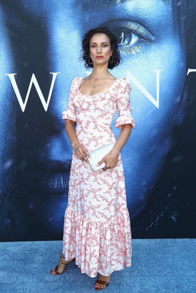 """LOS ANGELES, CA - JULY 12:  Actor Indira Varma attends the premiere of HBO's """"Game Of Thrones"""" season 7 at Walt Disney Concert Hall on July 12, 2017 in Los Angeles, California.  (Photo by Frederick M. Brown/Getty Images)"""