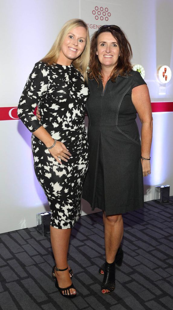 Catriona O'Connor and Serena Lawlor at the unveil of the 8th Generation of Clarins Double Serum at the Marker Hotel, Dublin. Photo by Brian McEvoy Photography