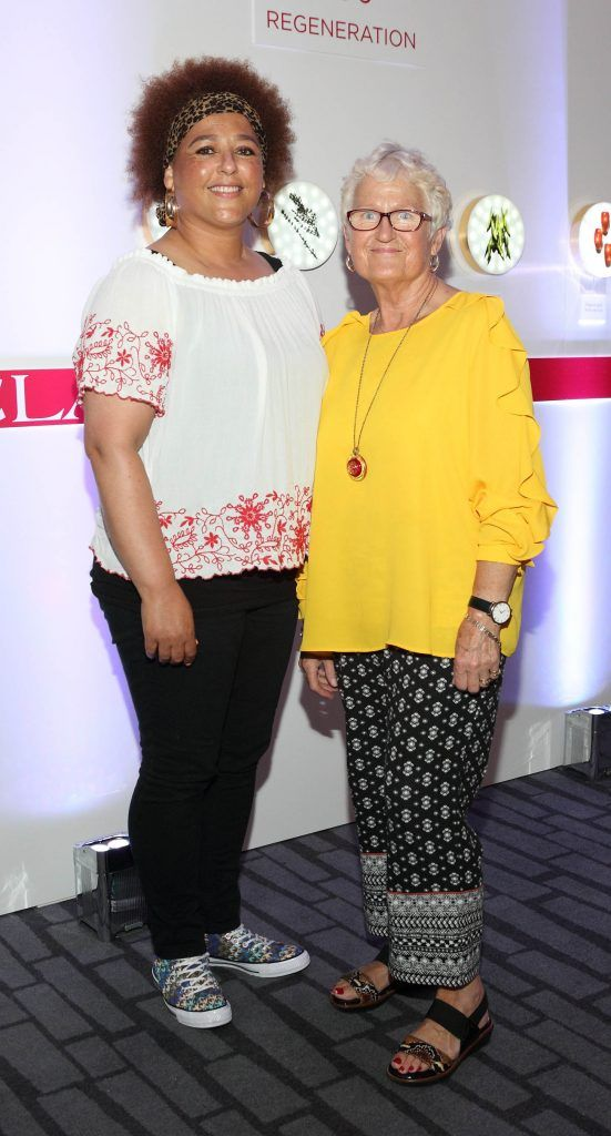 Debbie Leonard and Marie Joseph at the unveil of the 8th Generation of Clarins Double Serum at the Marker Hotel, Dublin. Photo by Brian McEvoy Photography