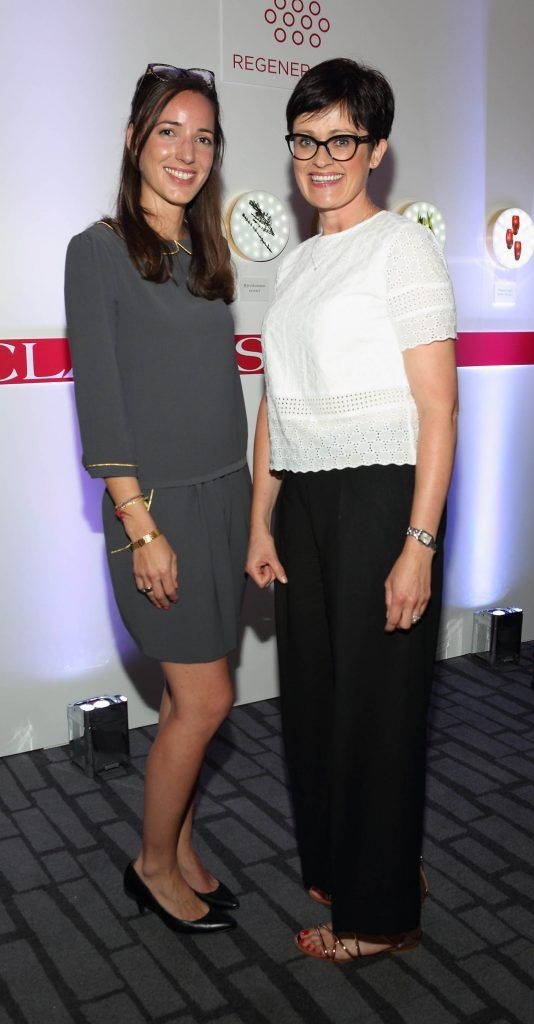 Caroline Camuzat and Dee Maguire at the unveil of the 8th Generation of Clarins Double Serum at the Marker Hotel, Dublin. Photo by Brian McEvoy Photography