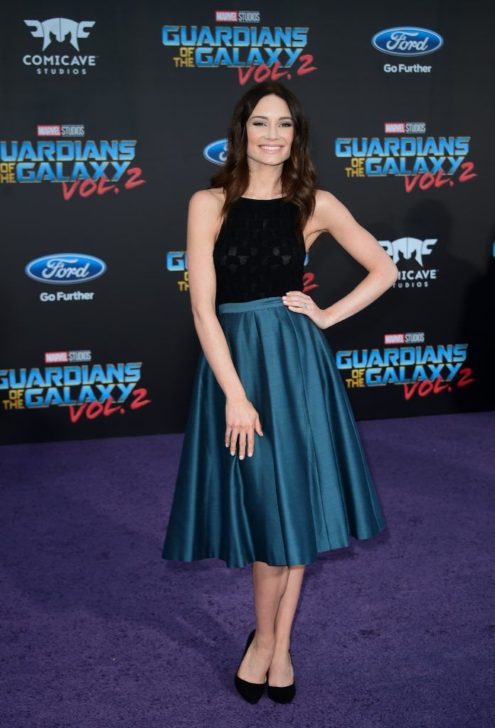 "Mallory Jansen arrives for the world premiere of the film ""Guardians of the Galaxy Vol. 2"" in Hollywood, California on April 19, 2017 (Photo by FREDERIC J. BROWN/AFP/Getty Images)"