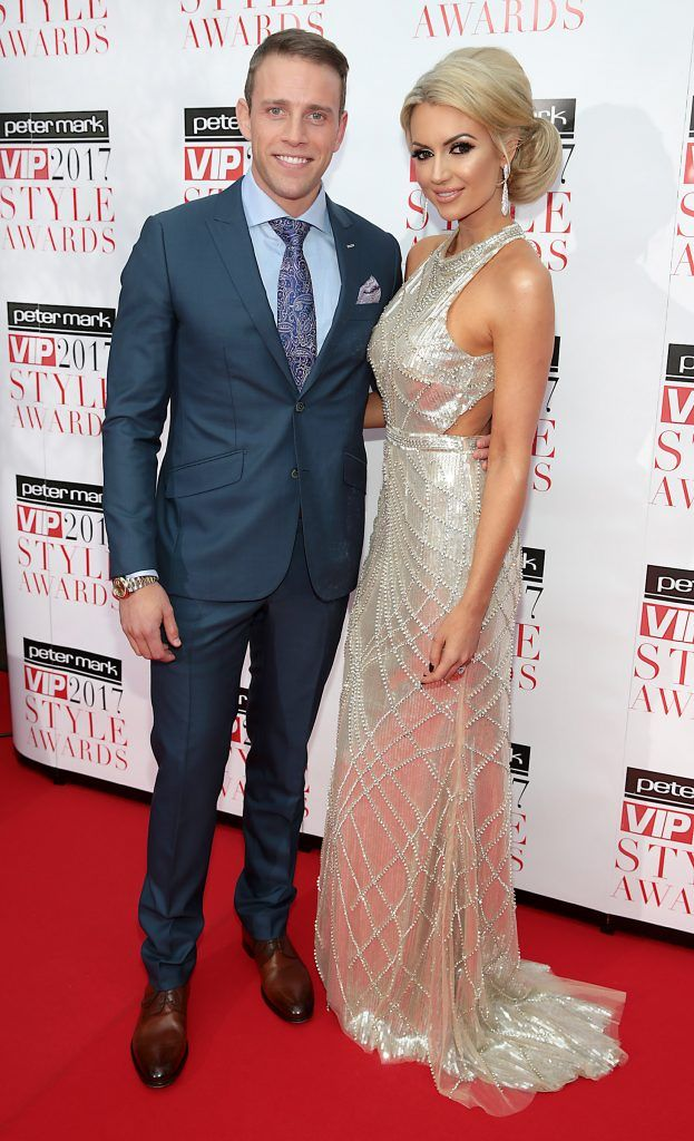 Wesley Quirke and Rosanna Davison at the Peter Mark VIP Style Awards 2017 at The Marker Hotel, Dublin. Picture by Brian McEvoy.