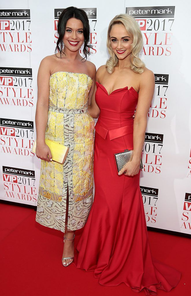 Michelle McGrath and Leanne Moore at the Peter Mark VIP Style Awards 2017 at The Marker Hotel, Dublin. Picture by Brian McEvoy.