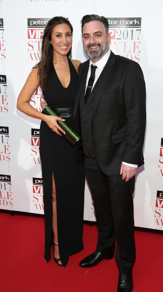 Aisling Kilduff and Richard Keaveney at the Peter Mark VIP Style Awards 2017 at The Marker Hotel, Dublin. Picture by Brian McEvoy.