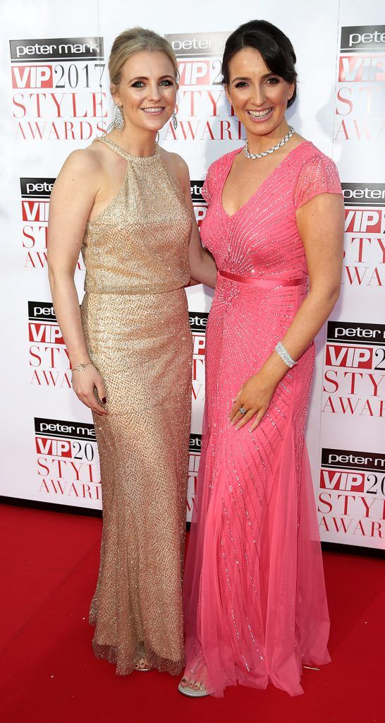 Sinead Harrington and Rayna Connery at the Peter Mark VIP Style Awards 2017 at The Marker Hotel, Dublin. Picture by Brian McEvoy.