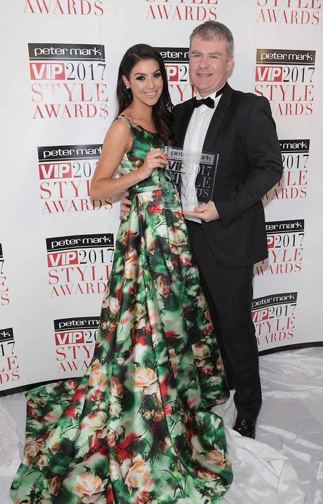 Suzanne Jackson - Most Stylish Woman 2017 is presented with her award by Peter O Rourke -CEO Peter Mark Group at the Peter Mark VIP Style Awards 2017 at The Marker Hotel, Dublin. Picture by Brian McEvoy.