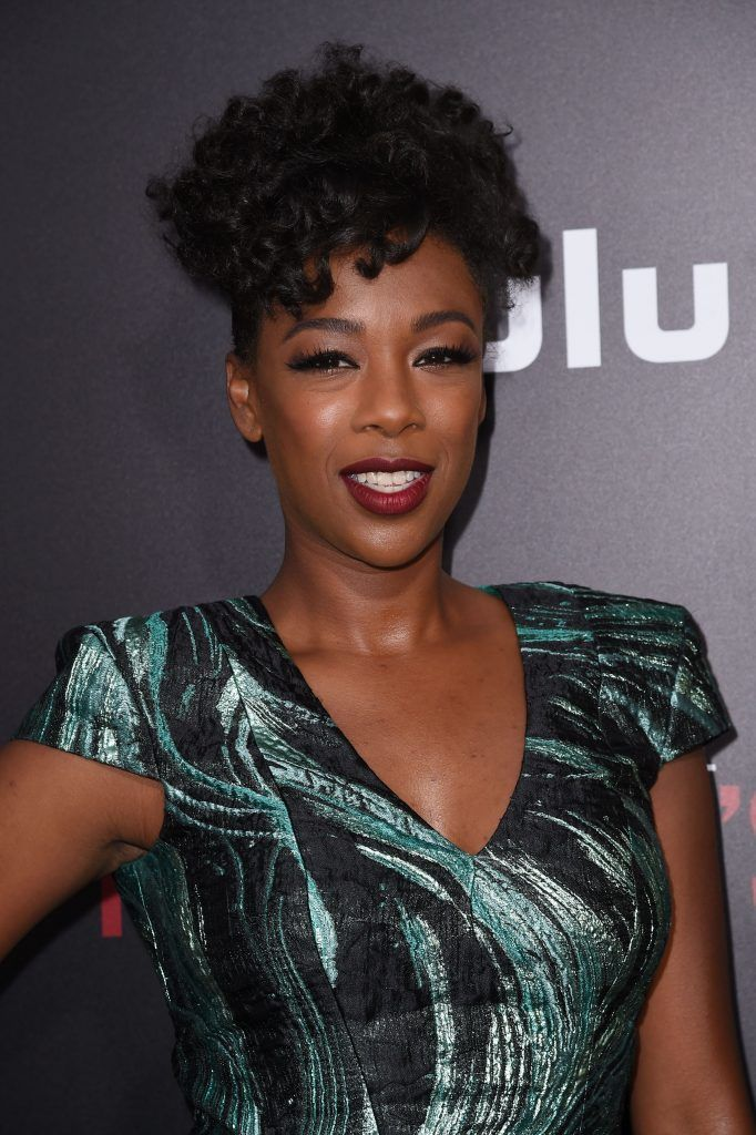 """Actress Samira Wiley attends the Los Angeles premiere of Hulus """"The Handmaids Tale,"""" April 25, 2017 at the ArcLight Dome in Hollywood, California. (Photo by ROBYN BECK/AFP/Getty Images)"""