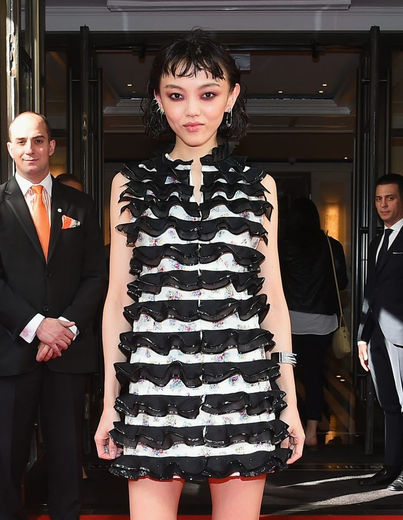 NEW YORK, NY - MAY 01:  Fashion Model/Actress Rila Fukushima leaves from The Mark Hotel for the 2017 'Rei Kawakubo/Comme des Garçons: Art of the In-Between' Met Gala on May 1, 2017 in New York City.  (Photo by Ben Gabbe/Getty Images for The Mark Hotel)