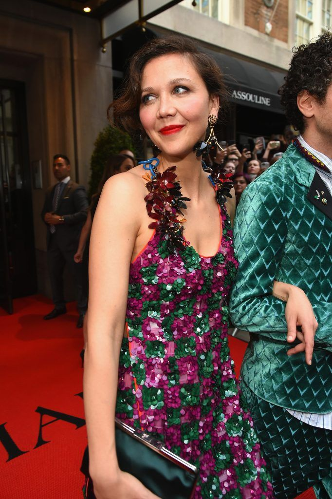 NEW YORK, NY - MAY 01:  Maggie Gyllenhaal leaves from The Mark Hotel for the 2017 'Rei Kawakubo/Comme des Garçons: Art of the In-Between' Met Gala on May 1, 2017 in New York City.  (Photo by Ben Gabbe/Getty Images for The Mark Hotel)