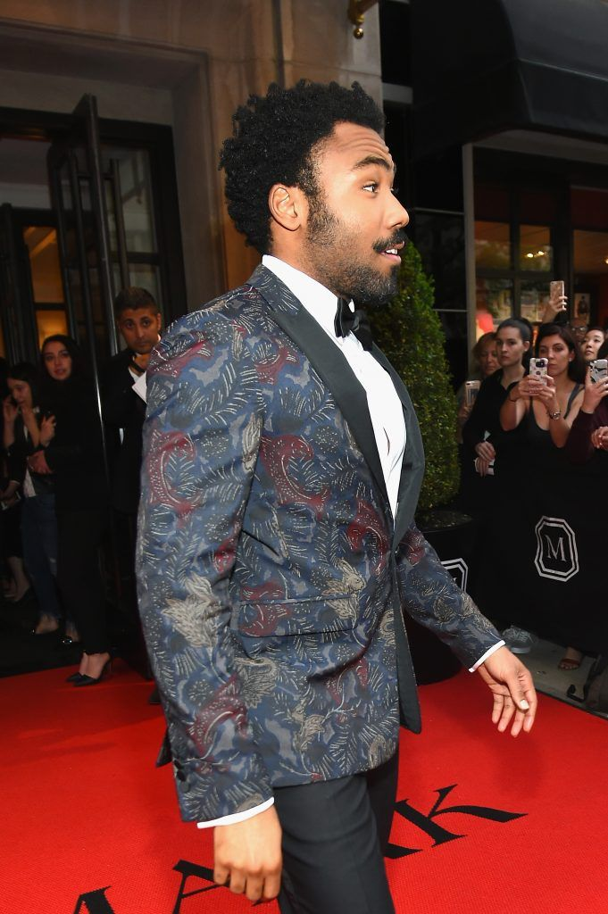 NEW YORK, NY - MAY 01:  Donald Glover leaves from The Mark Hotel for the 2017 'Rei Kawakubo/Comme des Garçons: Art of the In-Between' Met Gala on May 1, 2017 in New York City.  (Photo by Ben Gabbe/Getty Images for The Mark Hotel)