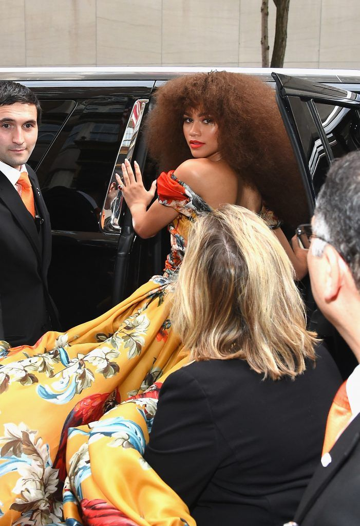 NEW YORK, NY - MAY 01:  Zendaya leaves from The Mark Hotel for the 2017 'Rei Kawakubo/Comme des Garçons: Art of the In-Between' Met Gala on May 1, 2017 in New York City.  (Photo by Ben Gabbe/Getty Images for The Mark Hotel)