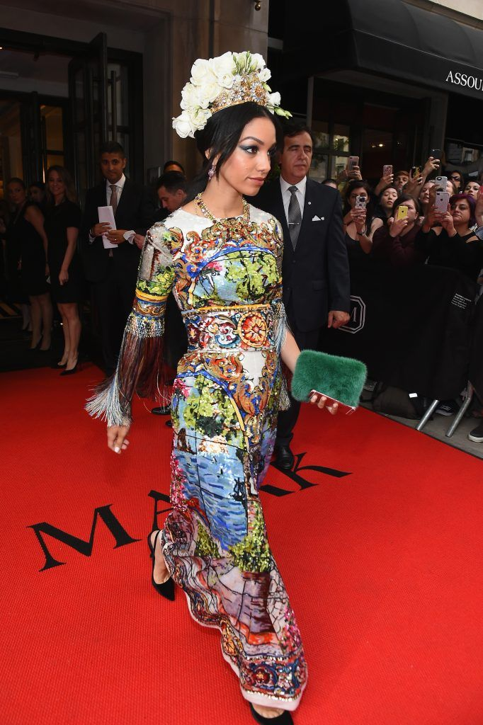 NEW YORK, NY - MAY 01:  Corinne Foxx leaves from The Mark Hotel for the 2017 'Rei Kawakubo/Comme des Garçons: Art of the In-Between' Met Gala on May 1, 2017 in New York City.  (Photo by Ben Gabbe/Getty Images for The Mark Hotel)