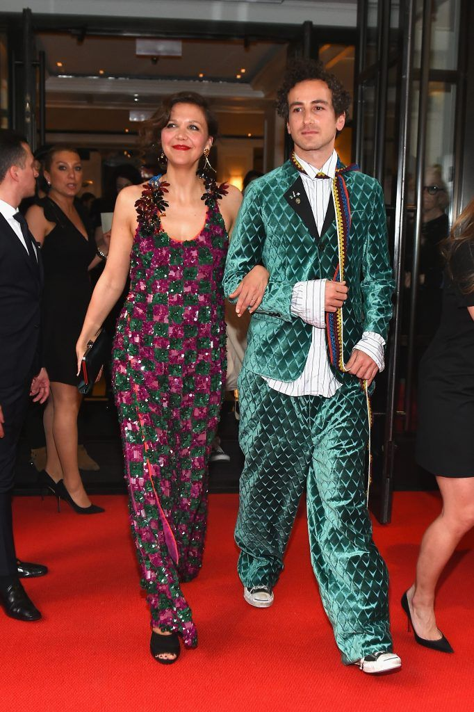 NEW YORK, NY - MAY 01:  Maggie Gyllenhaal (L) and Francesco Risso leave from The Mark Hotel for the 2017 'Rei Kawakubo/Comme des Garçons: Art of the In-Between' Met Gala on May 1, 2017 in New York City.  (Photo by Ben Gabbe/Getty Images for The Mark Hotel)