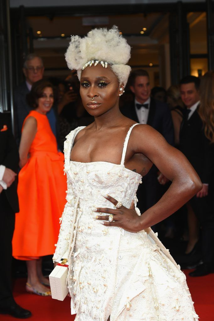NEW YORK, NY - MAY 01:  Cynthia Erivo leaves from The Mark Hotel for the 2017 'Rei Kawakubo/Comme des Garçons: Art of the In-Between' Met Gala on May 1, 2017 in New York City.  (Photo by Ben Gabbe/Getty Images for The Mark Hotel)