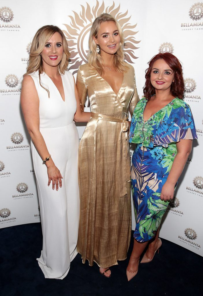 Lisa McDermott and Linda Stinson with stunning face of Bellamianta Tan and former Made in Chelsea star Ianthe Rose pictured at the Bellamianta Tan summer launch party at Number 22 South Anne Street, Dublin. Picture: Brian McEvoy