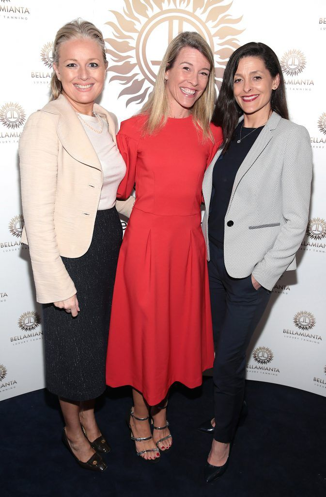 Noelle Murrya,Avril Whelan and Anne McGoldrick pictured at the Bellamianta Tan summer launch party at Number 22 South Anne Street, Dublin. Picture: Brian McEvoy