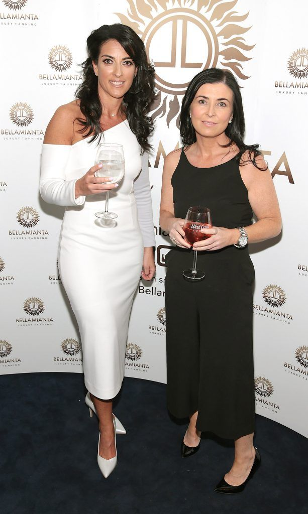 Lisa McGowan and Elaine De Roiste pictured at the Bellamianta Tan summer launch party at Number 22 South Anne Street, Dublin. Picture: Brian McEvoy